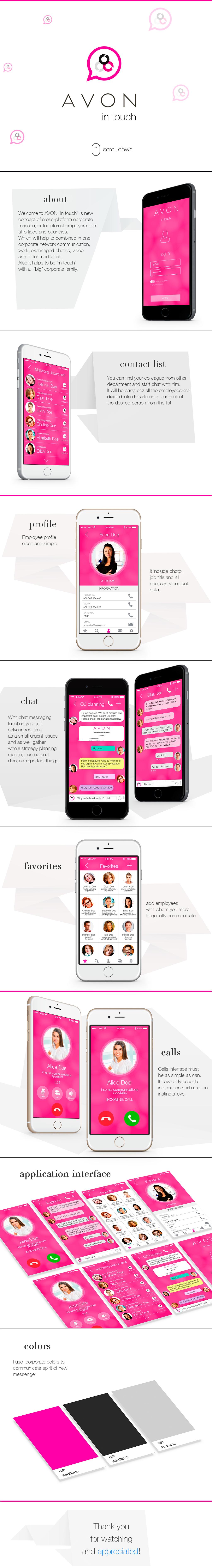 messenger corporate messenger Avon ui design app app design application Application Design intouch avon in touch app concept sketch WhatsApp message social network