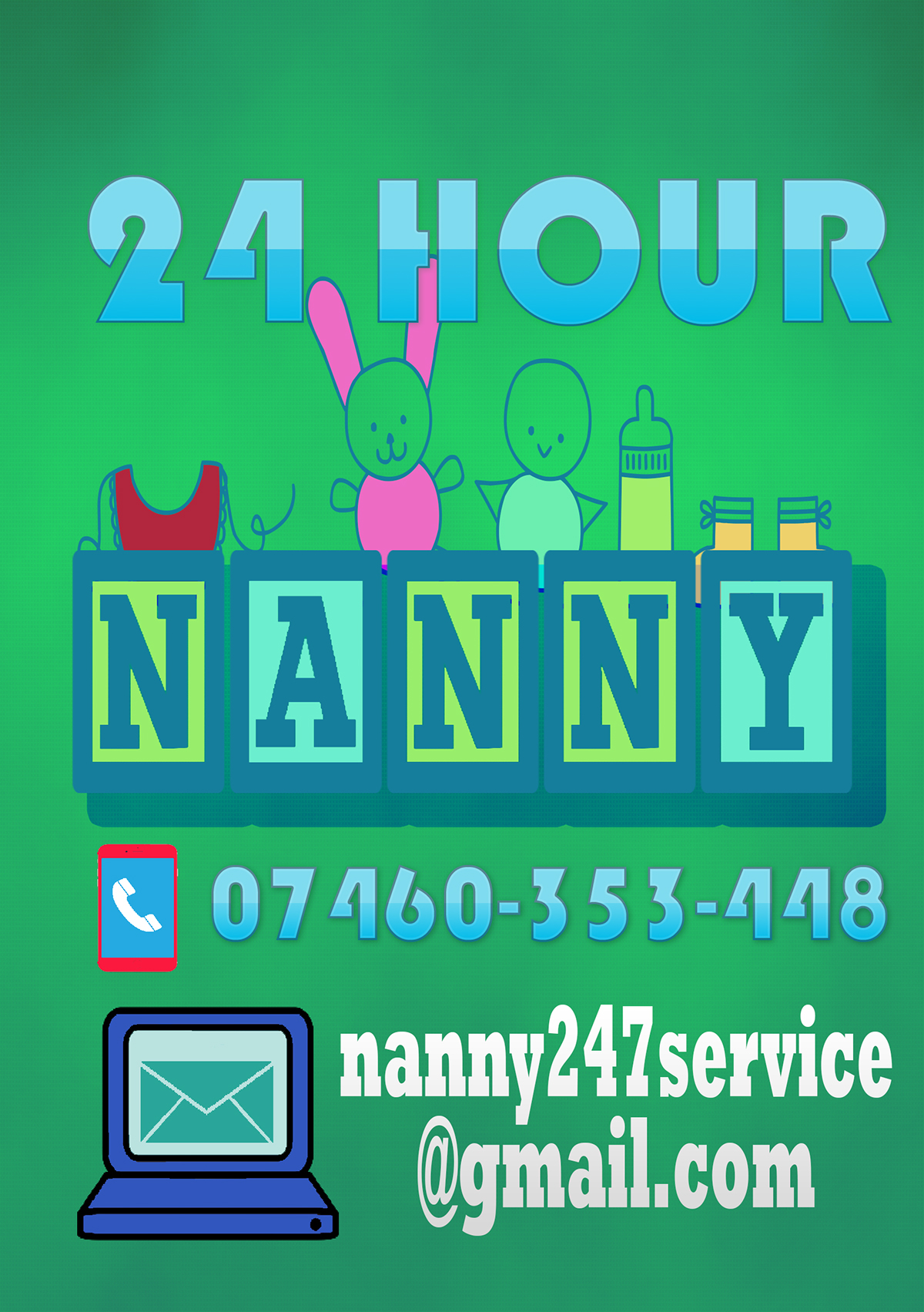 hour nanny flyers on behance