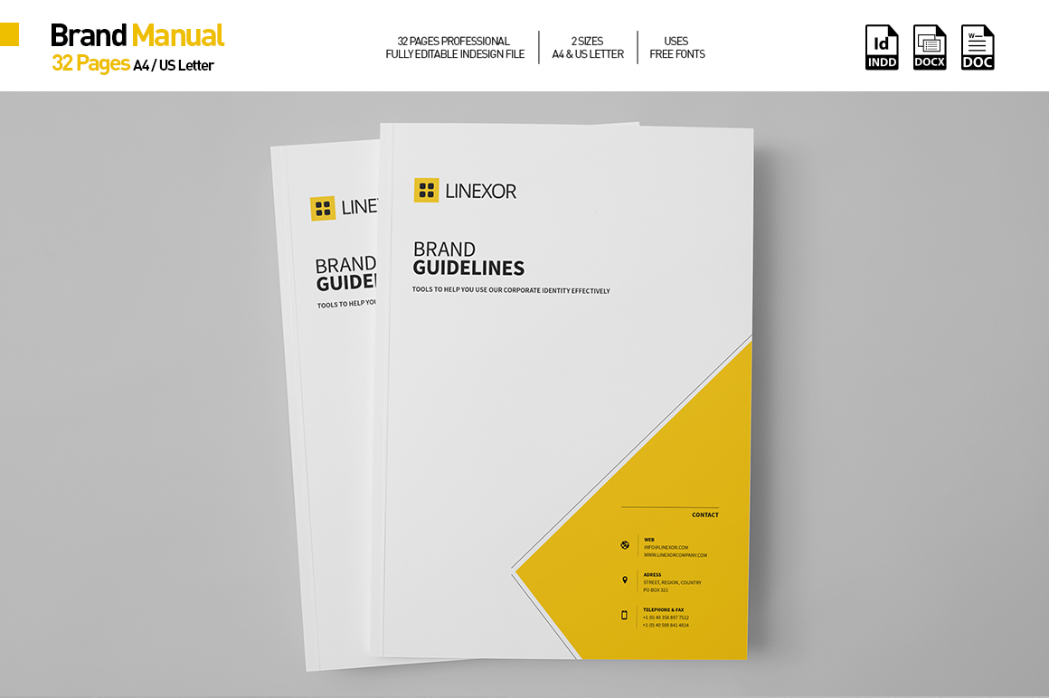 professional brand manual template for your business created in adobe indesign in a4 and us letter format compatible with cs 456cc microsoft word