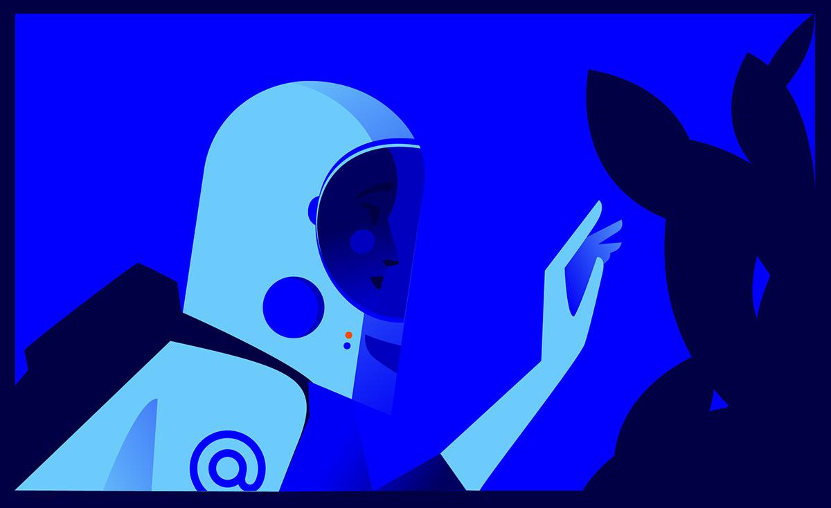 Graphic Novel Illustrator Space  Telegram Travel Vector Illustration idea mail.ru MARIA FEDOSEEVA