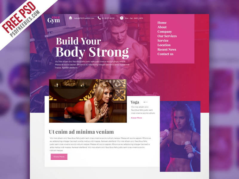 Freebie : Sports and Fitness Website Template PSD on Behance