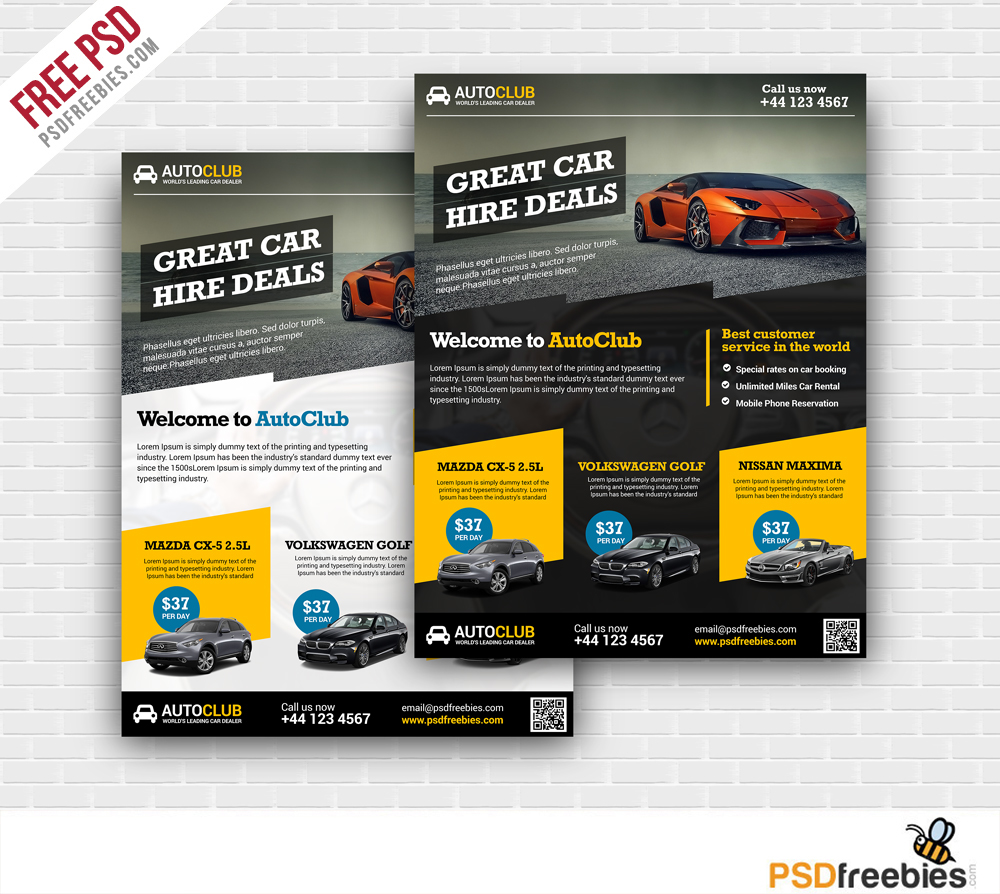 Freebie : Cars Rental Flyer Free PSD Template On Behance  Car Flyer Template