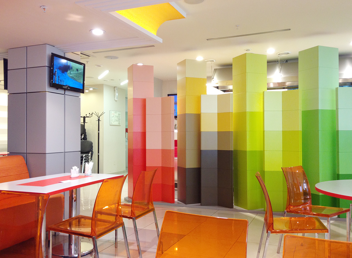 Colorful Cafe Interior Design Project on Behance