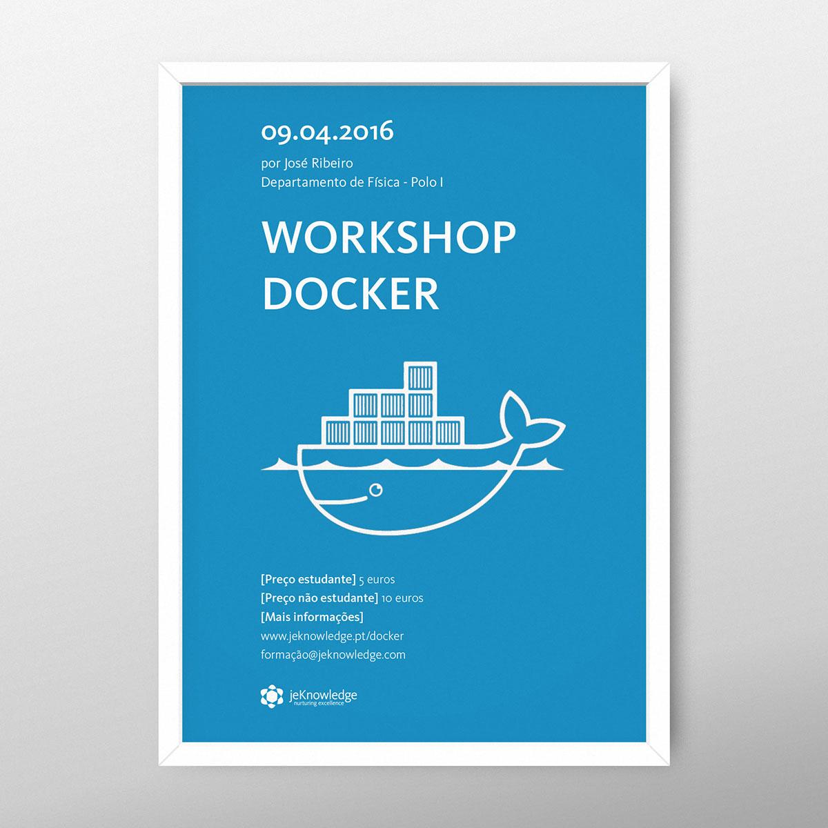 poster Coimbra InDesign Workshop react html/css docker