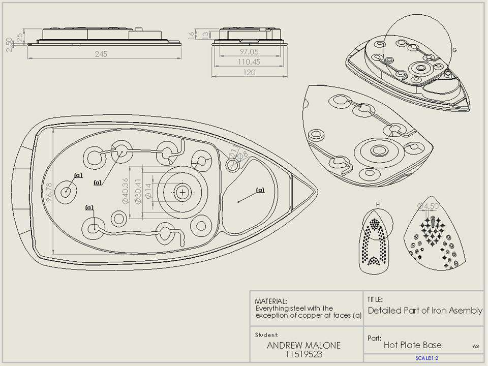 Drawing Steam Iron ~ B sc solidworks recreation of an iron on behance