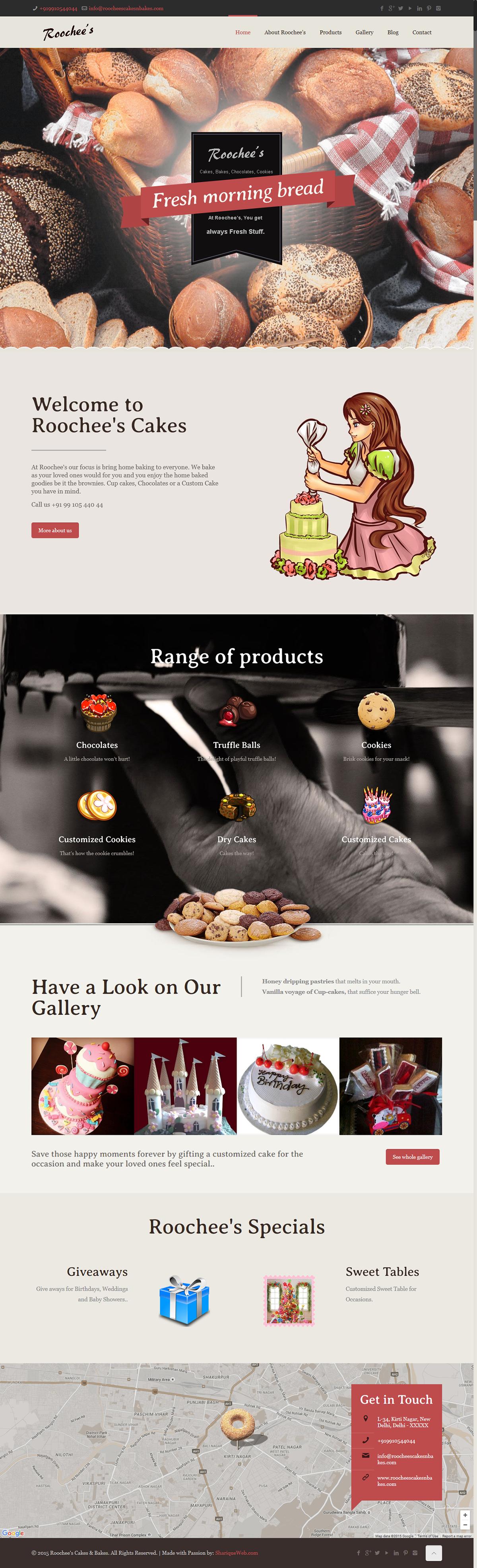 cake shop Wordpress Website Roochee's Cakes