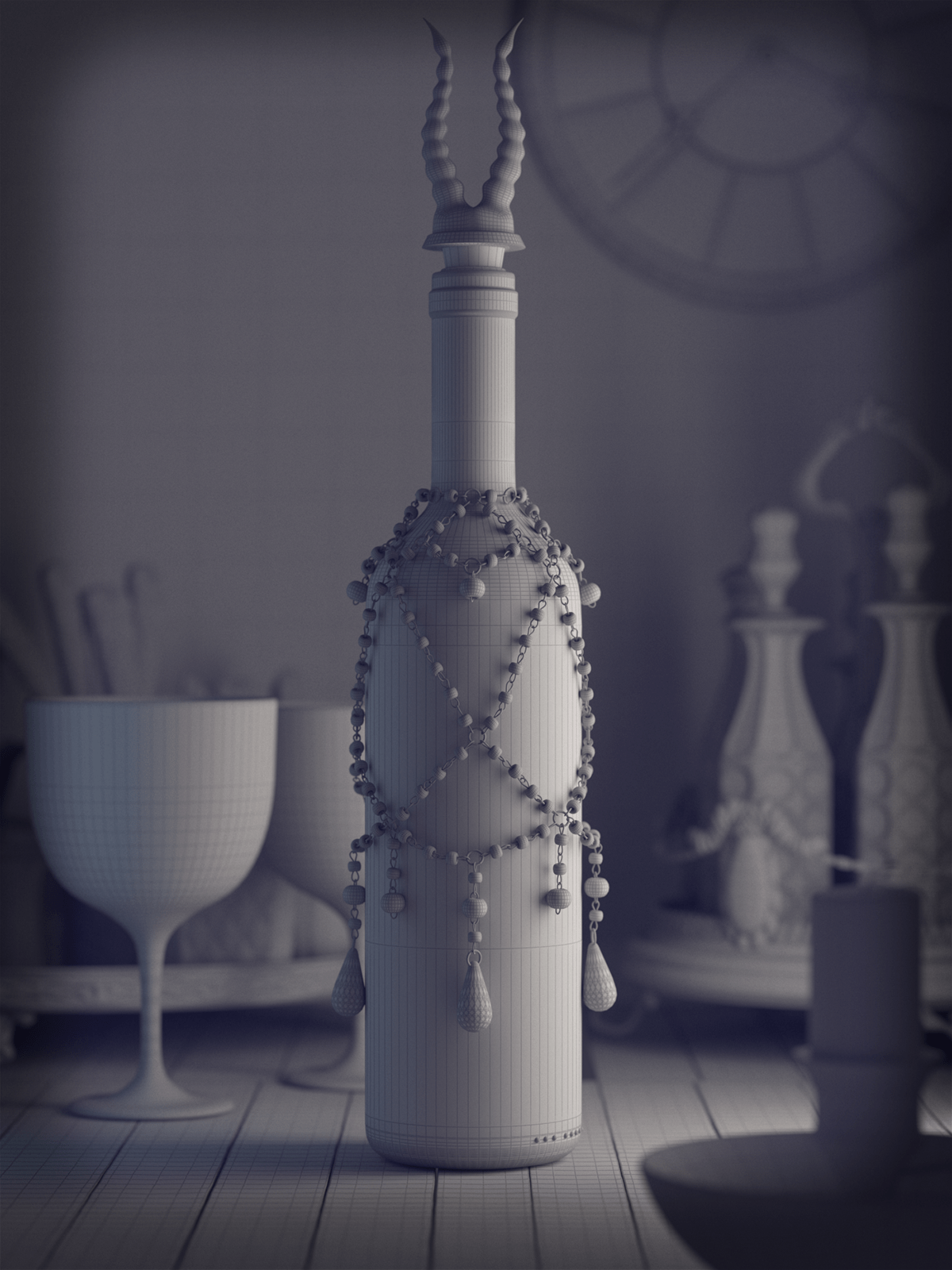 gothic wine bottle glam covers Food  table DIY beverages design
