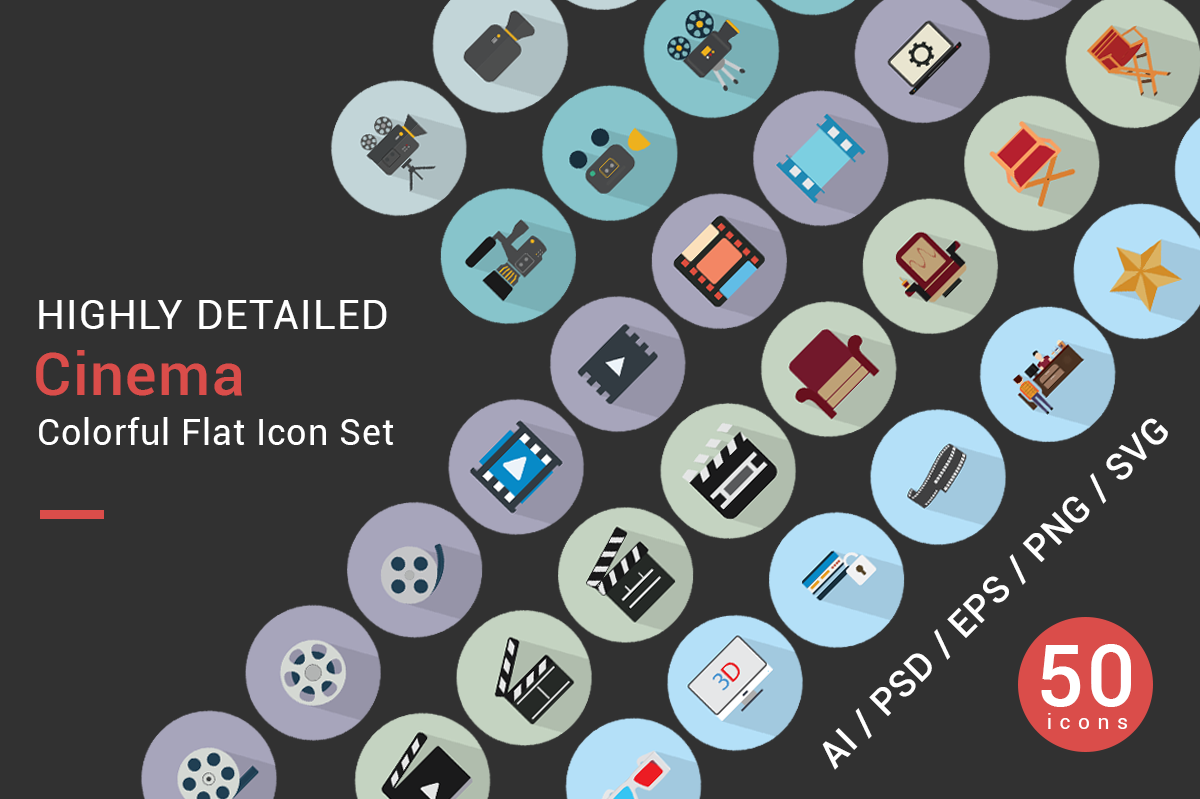CINEMA flat icons vector