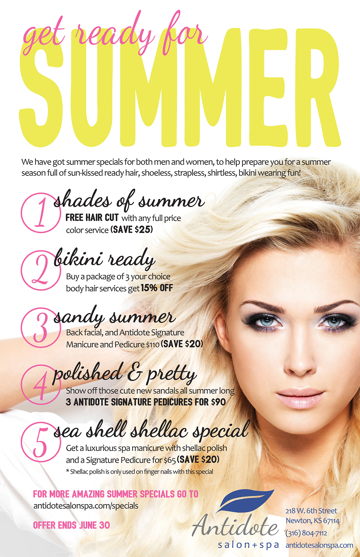 Antidote salon spa summer specials on behance for Beauty salon xmas offers