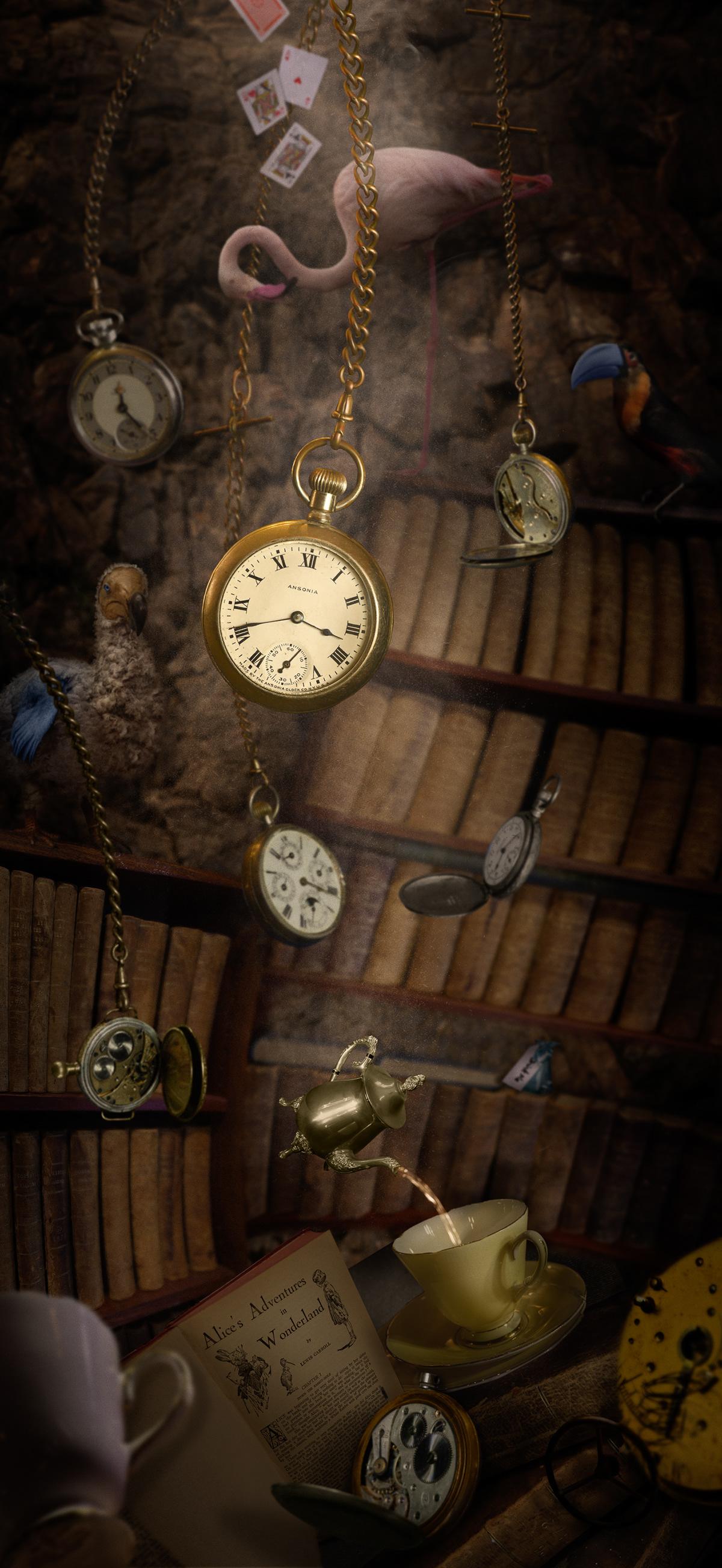 alice alice in wonderland art hotel Mural photoshop wonderland