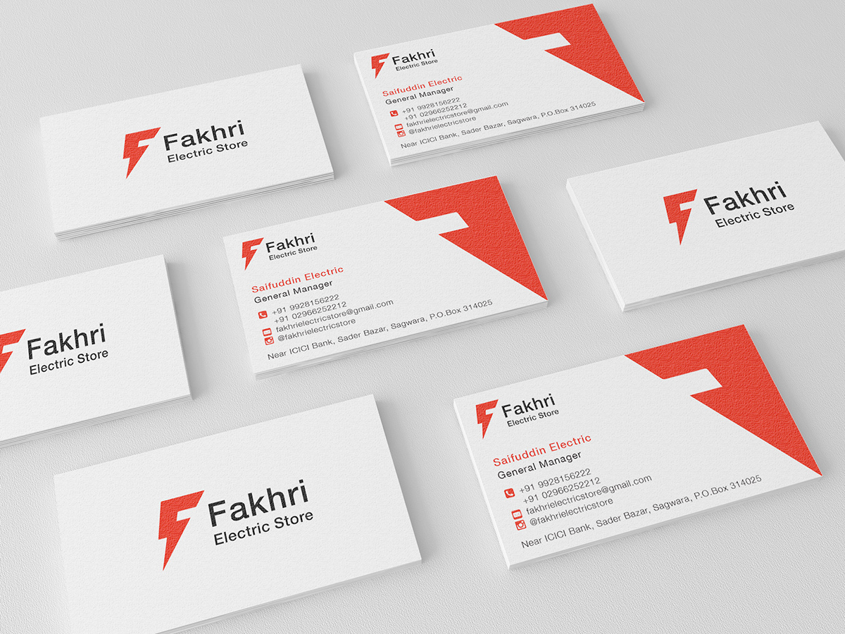 Fakhri Electric Store Cards on Behance