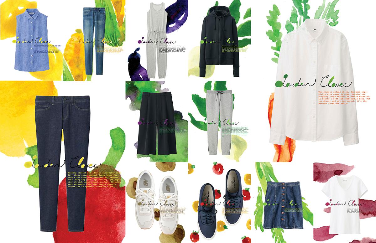 clothes watercolour vegetables