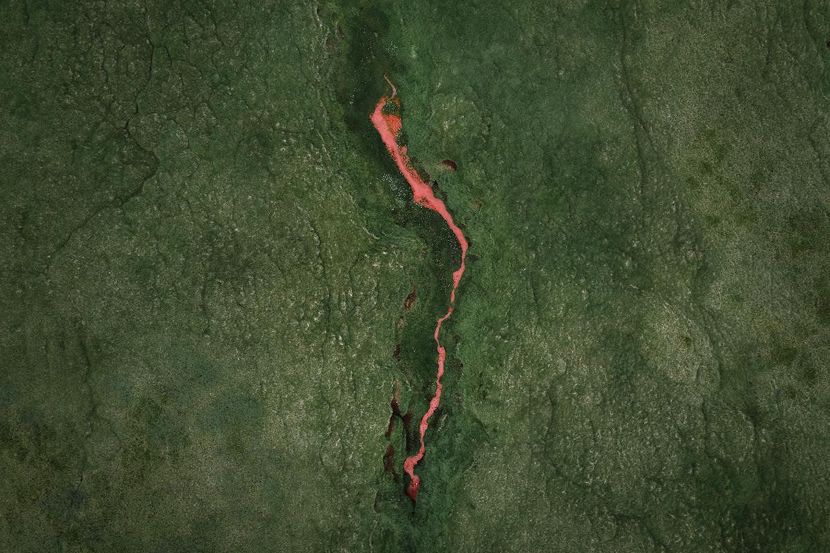 Aerial drone green iceland Landscape Nature orange red river Travel
