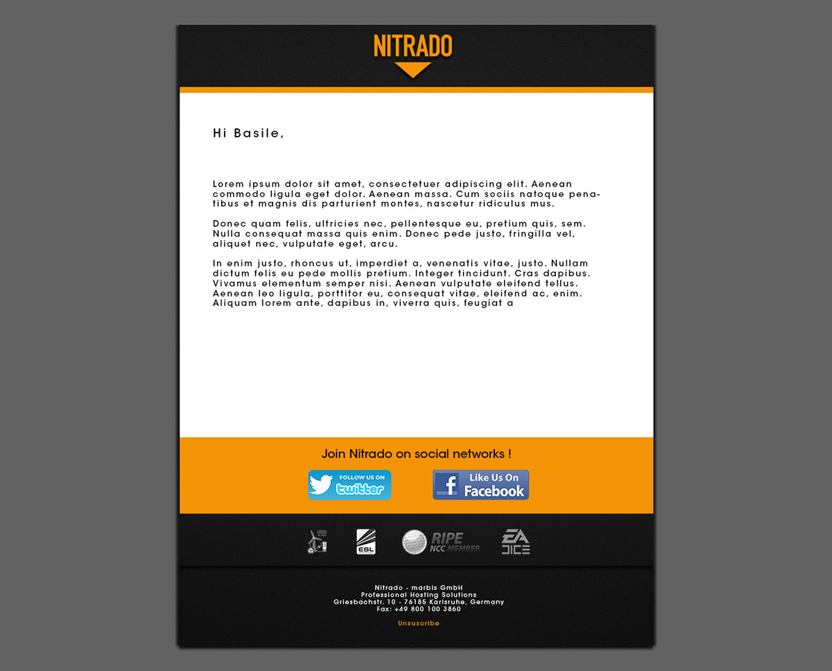 Nitrado Mail Template on Behance
