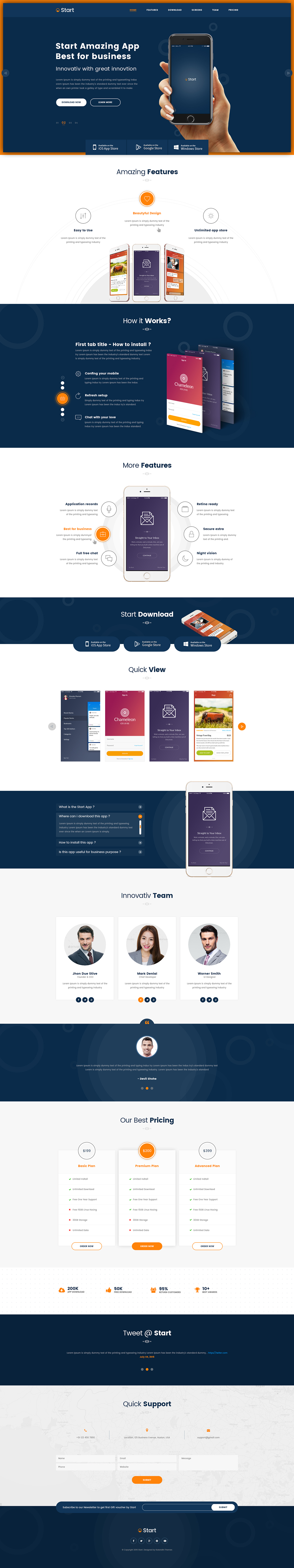 Start App Landing Page HTML Template On Behance - Landing page html template