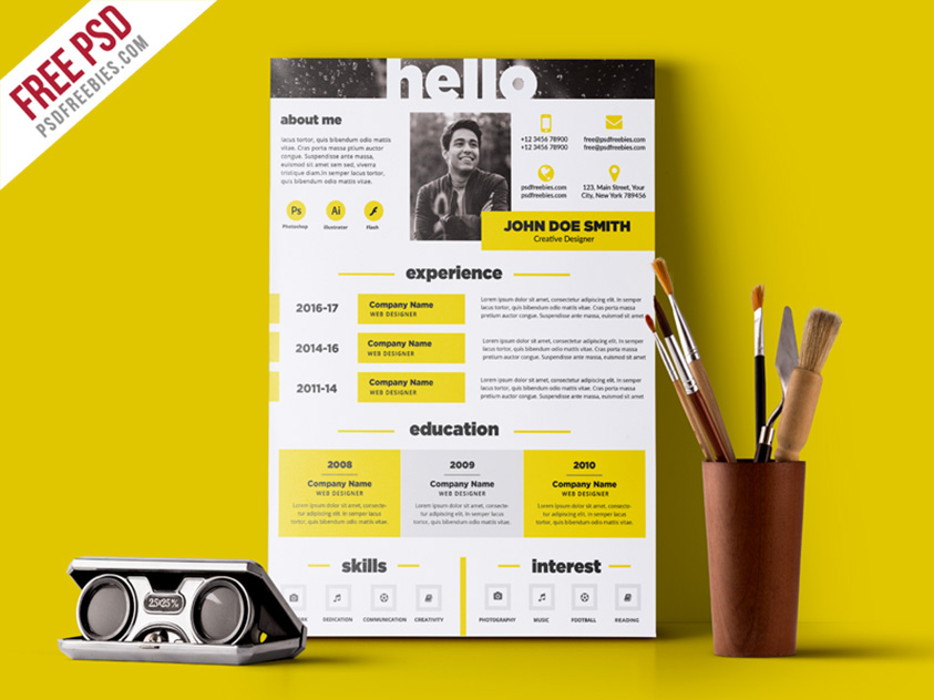 free psd creative and elegant resume template psd on behance