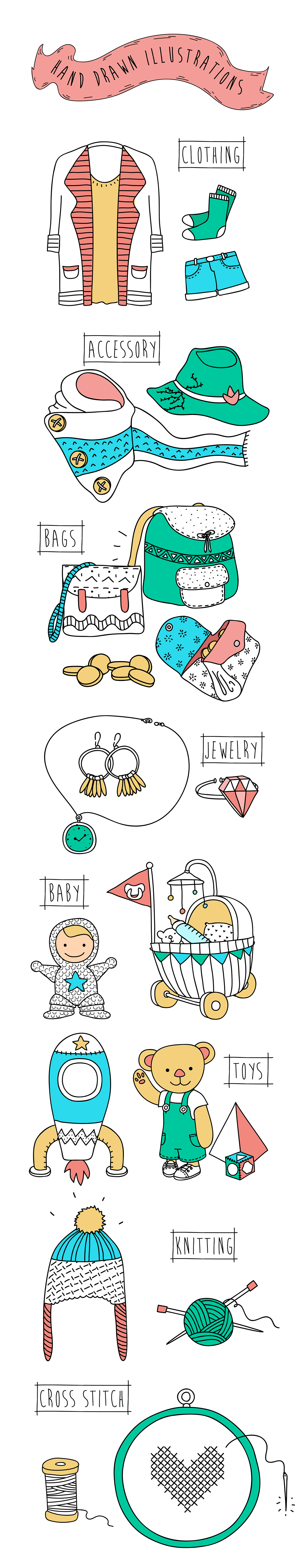 icons hand drawn home baby toy Accessory