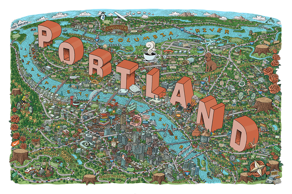 Illustrated Map of Portland, OR on Behance