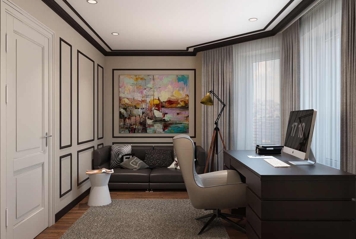 Modern classic interior design home office designs on behance Classic home office design ideas