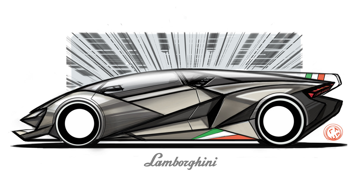 Lamborghini Sketch On Student Show