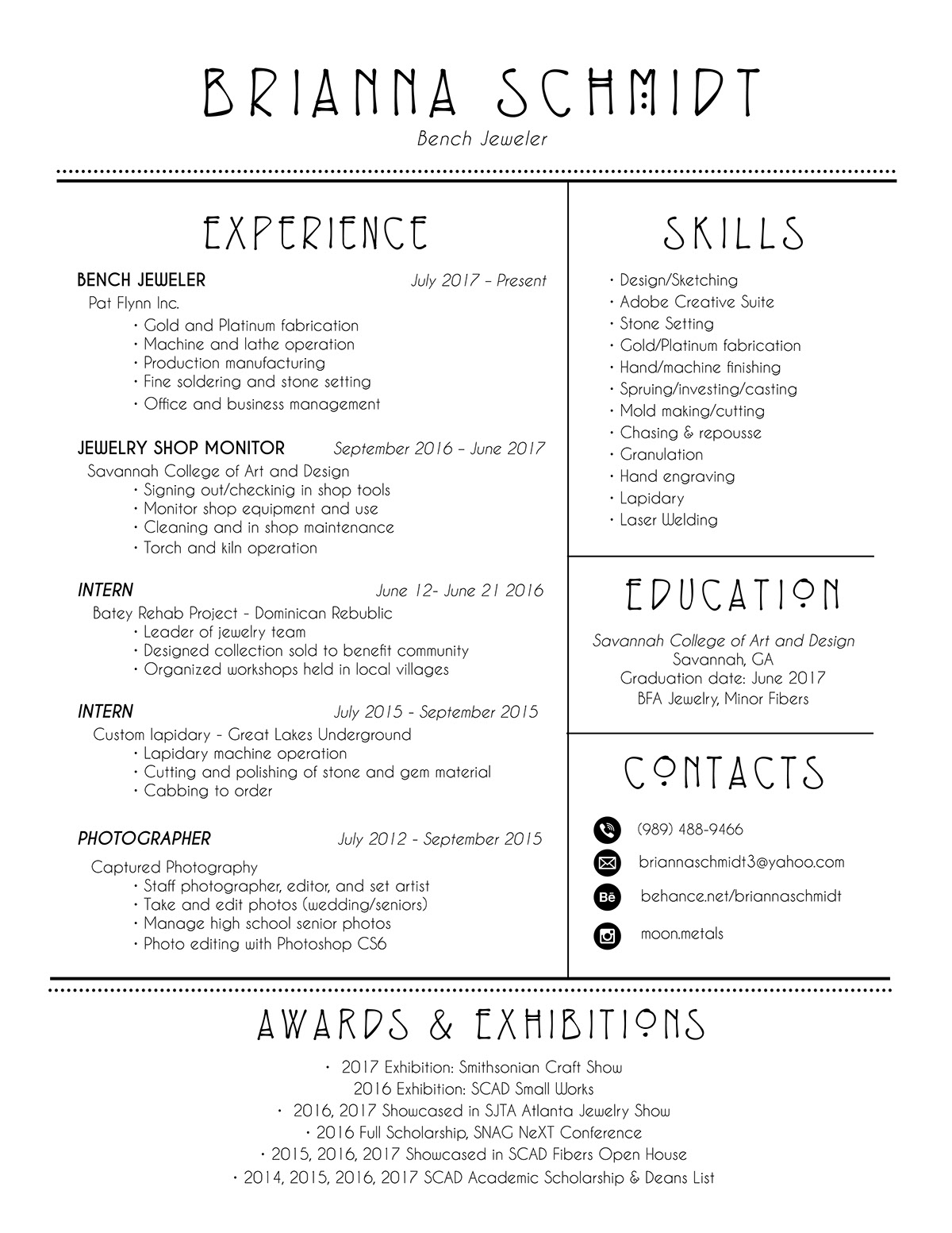 Resume On SCAD Portfolios