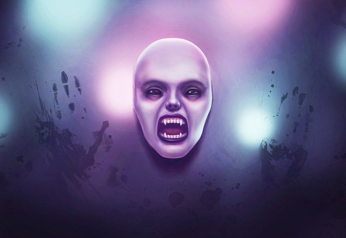 WacomHalloween Halloween vampire vampire girl girl portrait lights frosted glass matte fangs canines blue pink dark