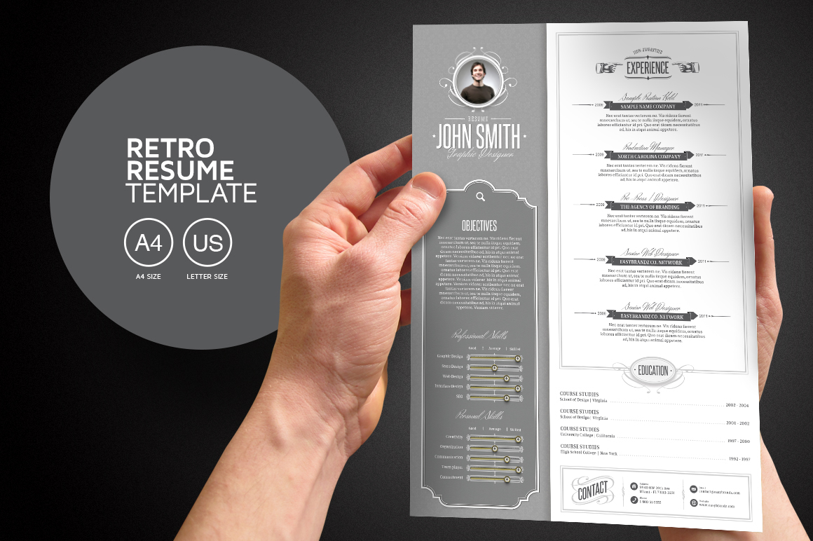 Retro resume template on behance pronofoot35fo Images