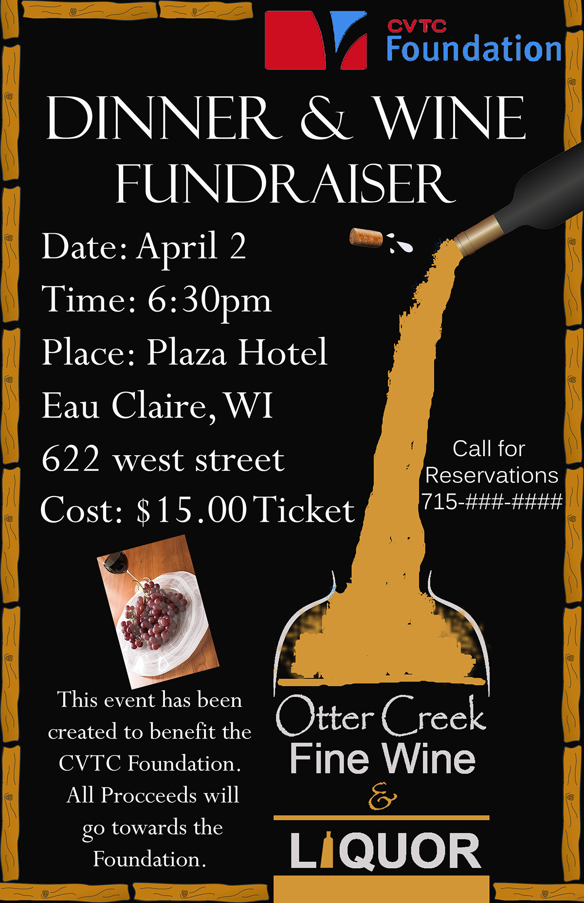 poster created for the dinner wine fundraiser on behance