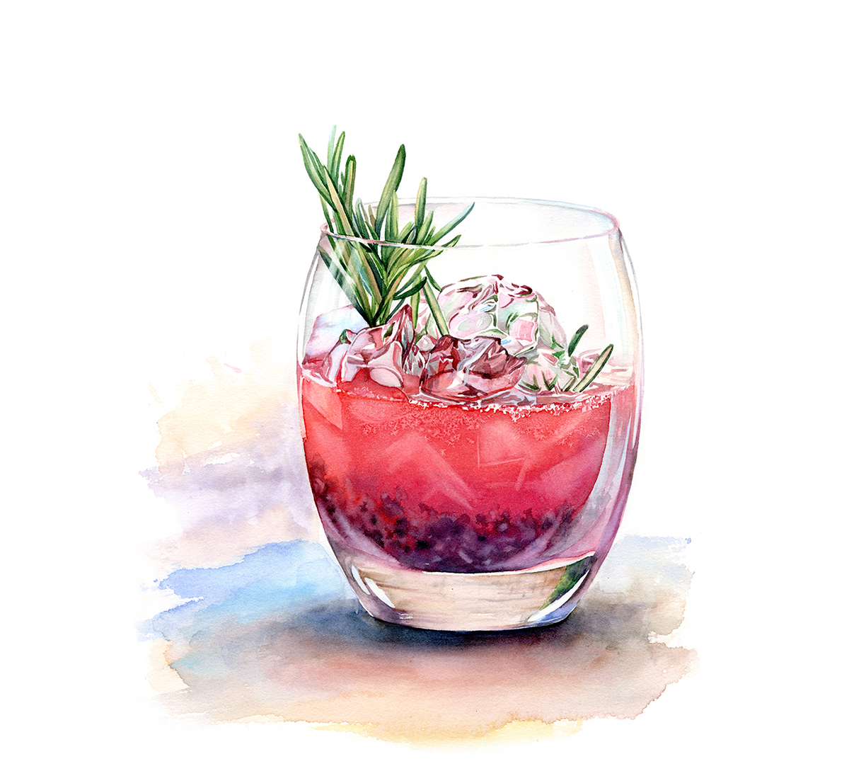 Watercolor drinks and deserts on behance for Paint and cocktails