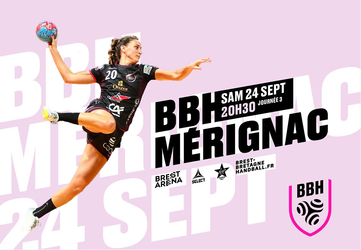 Brest club handball logo pink sport stripes