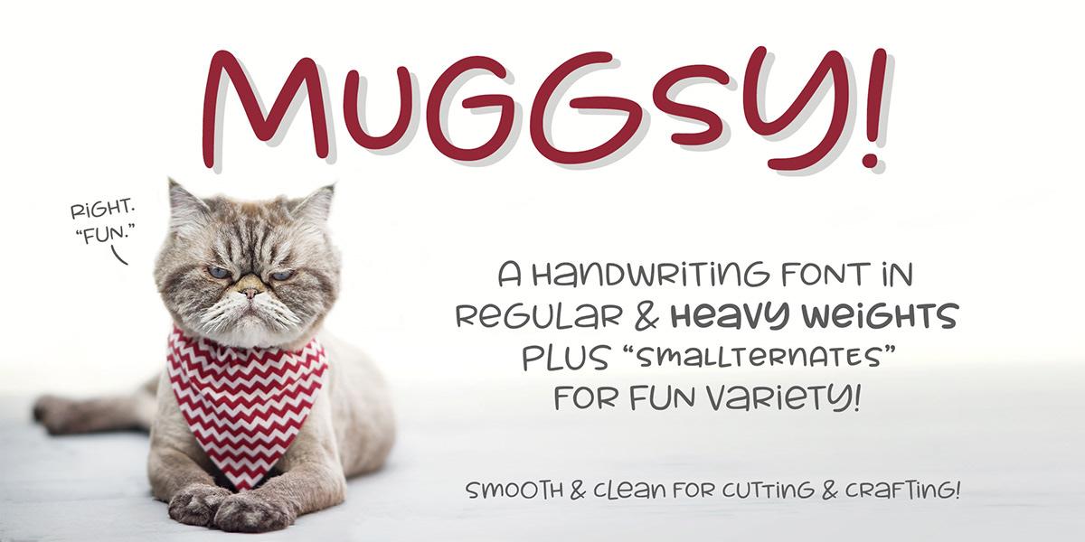 Muggsy mugsy font Typeface short wide cut Fun smooth kids