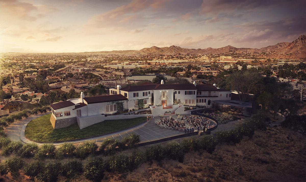architecture archviz arizona desert architecture design Landscape modern Render rendering restaurant