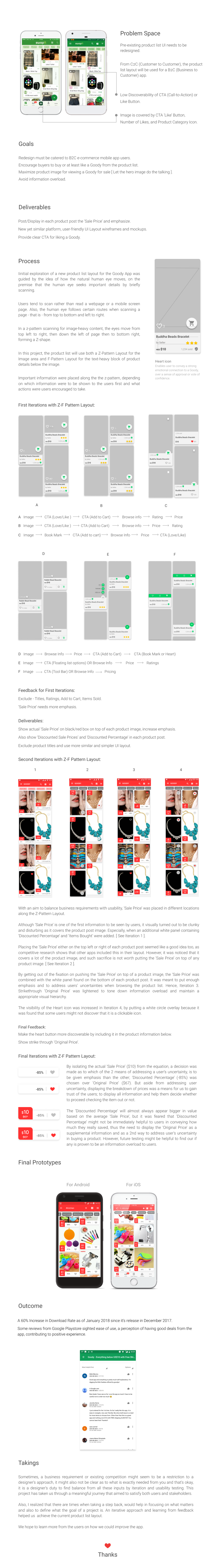 goody UX Case Study product list CTA Ecommerce e-commerce shopping app Mobile app