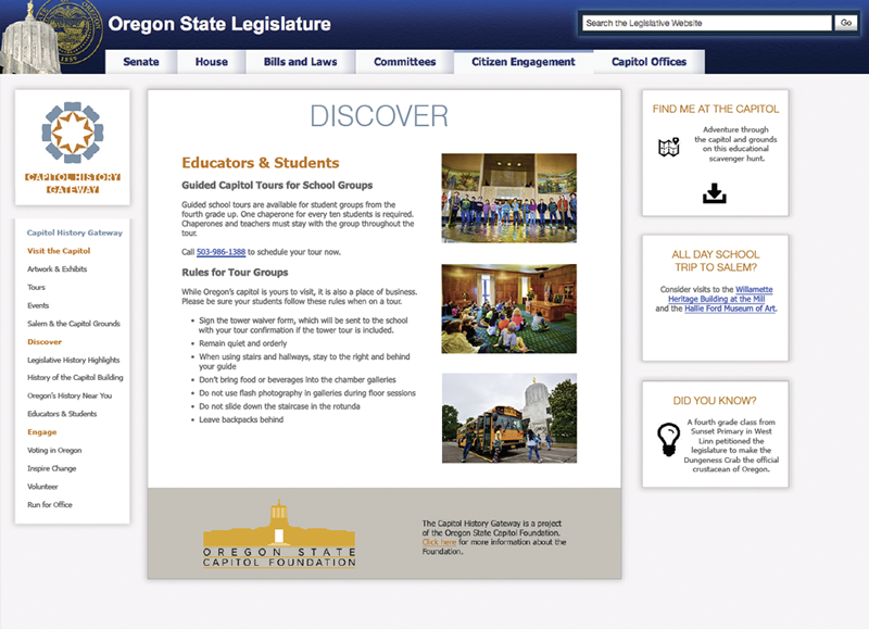 State of Oregon Capitol History Gateway government website website comp