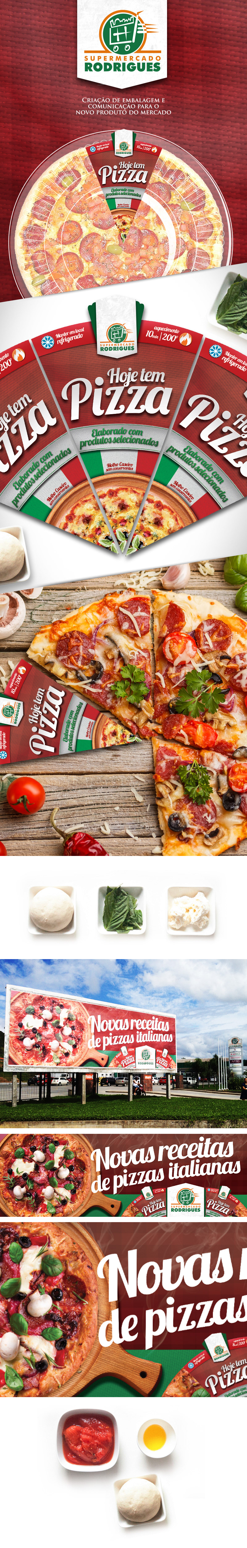 Pizza supermercado Rodrigues luckcomm embalagem Outdoor Pack red Italy