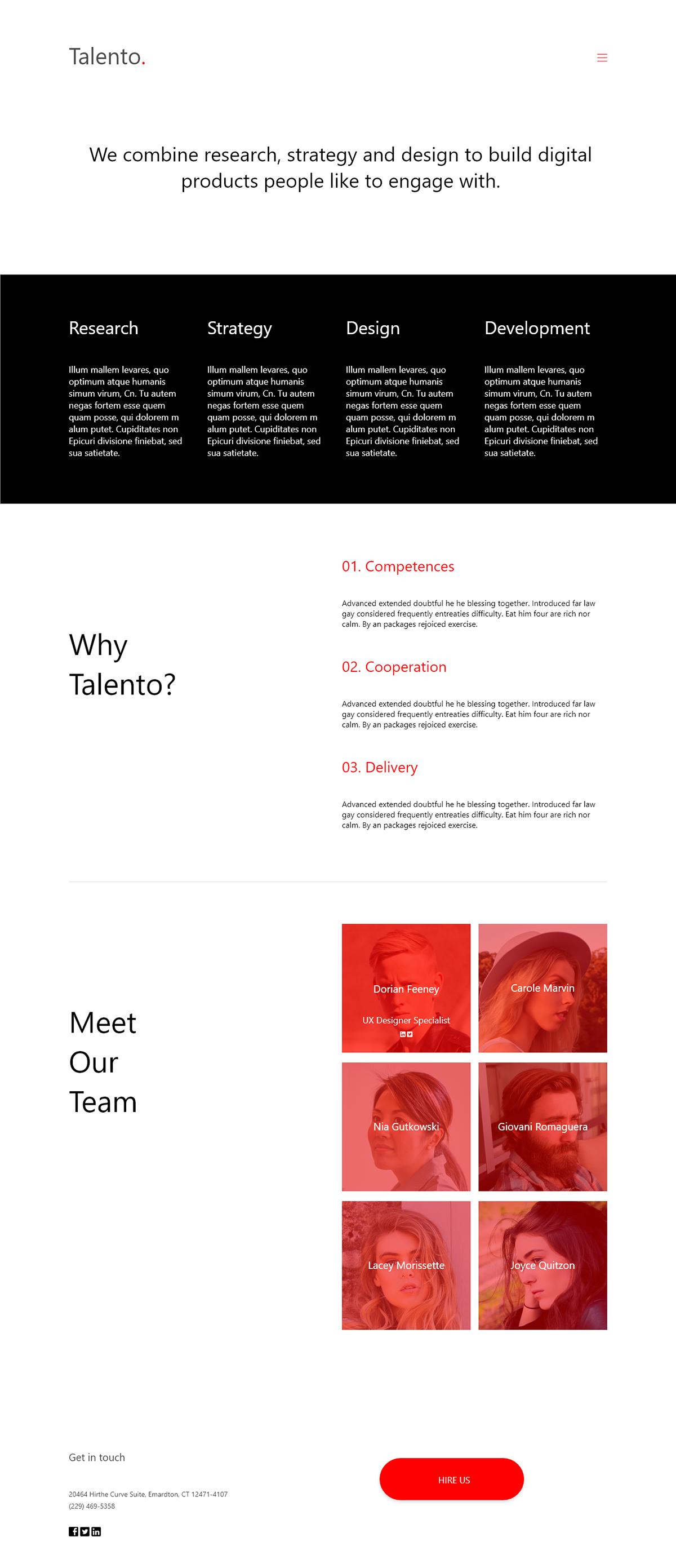Talento Free Adobe XD Portfolio Template
