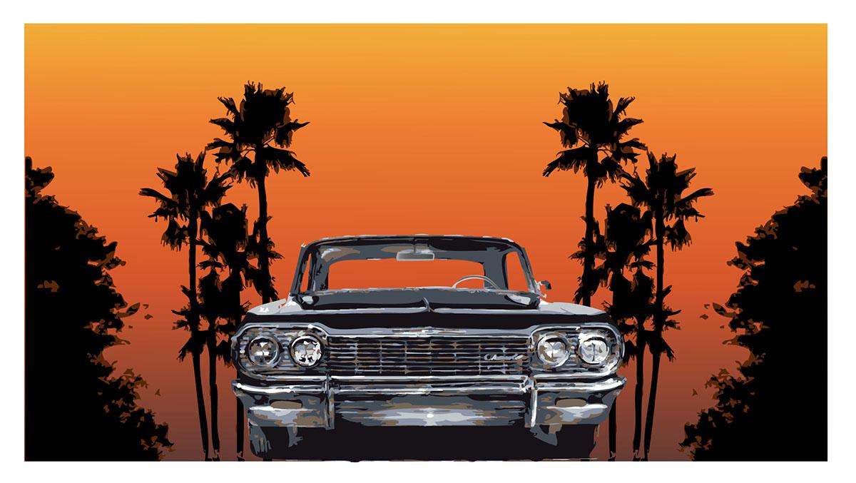 Adobe Portfolio California summer sunset gradient orange palmtrees impala CHEVY