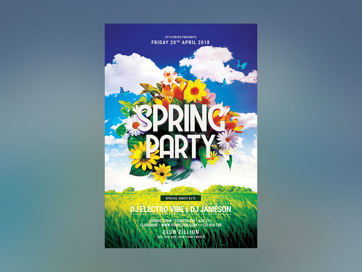 Spring Party Flyer On Behance
