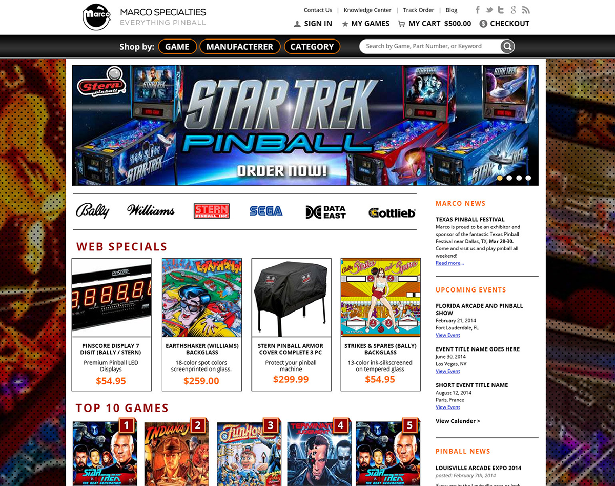 Marco Specialties - Pinball Parts Ecommerce on Behance