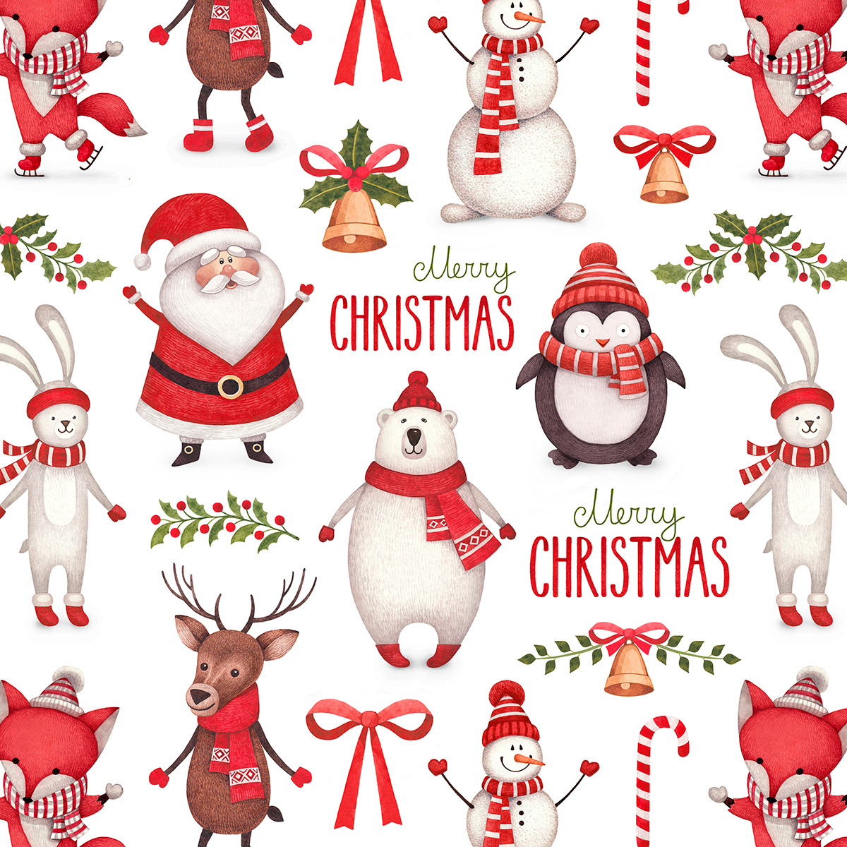 Christmas Designs.Cute Characters And Christmas Pattern Design On Behance