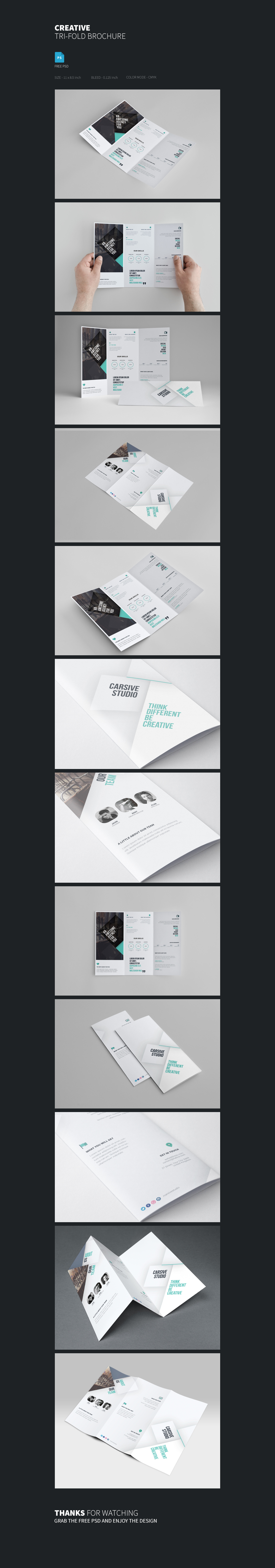 brochure trifold template clean print design sleek blue White awesome freebie psd free download