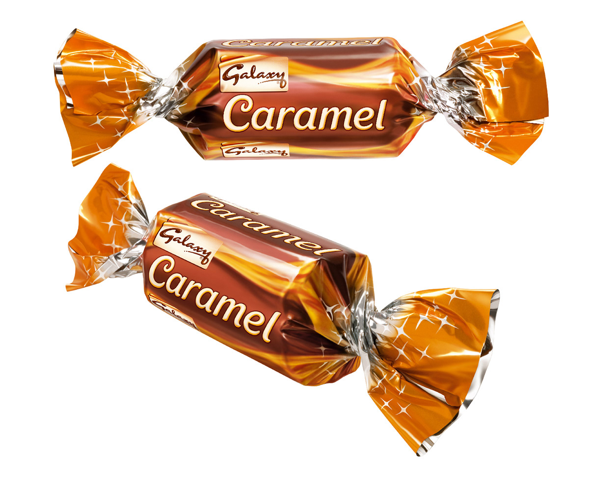 Photo realistic illustrations of Celebrations Galaxy Caramel miniture chocolates for packaging
