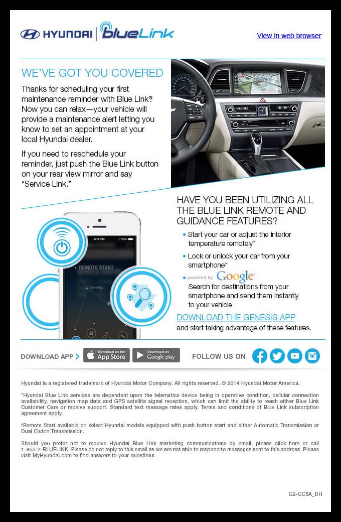 Hyundai Blue Link Emails on Behance