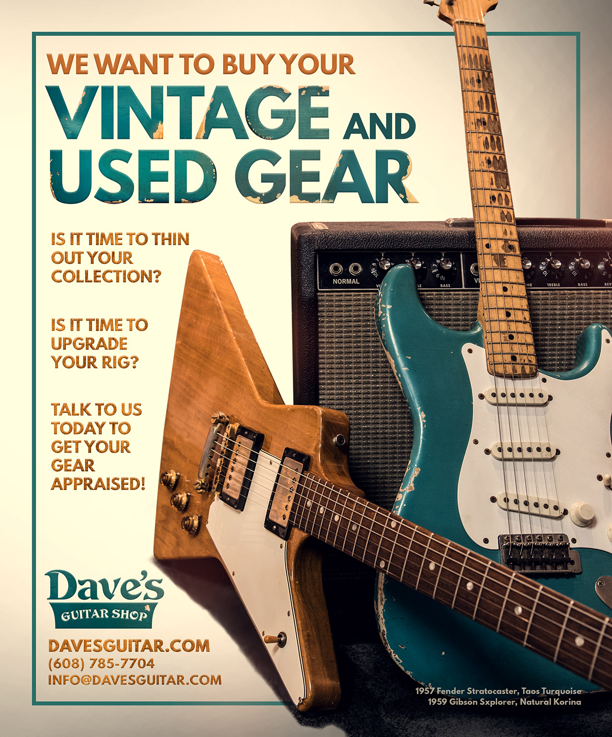 Vintage and Used Gear Ad Campaign - Dave's Guitar Shop on