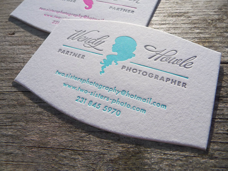 letterpress business card die cut Silhouette woman sophisticated elegant photographer logo identity cameo Custom Unique Stationery