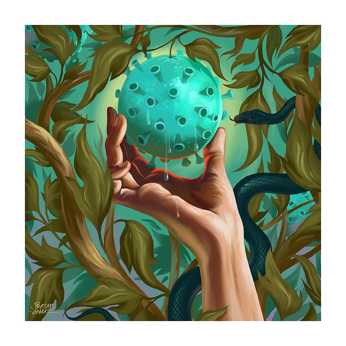 ArtDirection corona virus digital illustration digital painting Digital Sketch Drawing  forbidden fruit ILLUSTRATION