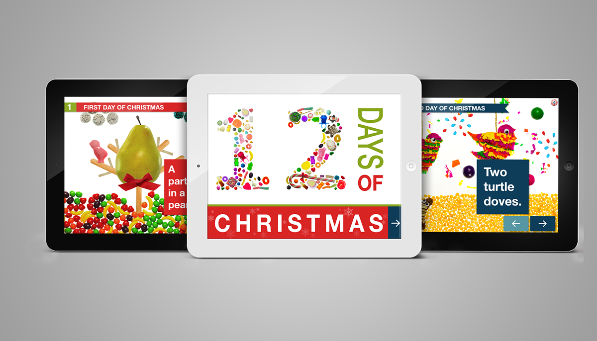 12 days of christmas candy interactive book app on behance - Christmas Candy Games