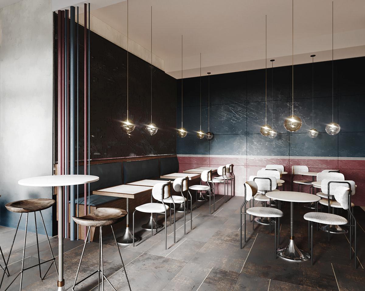 Simple cafe design \\ 3D visualization on Behance
