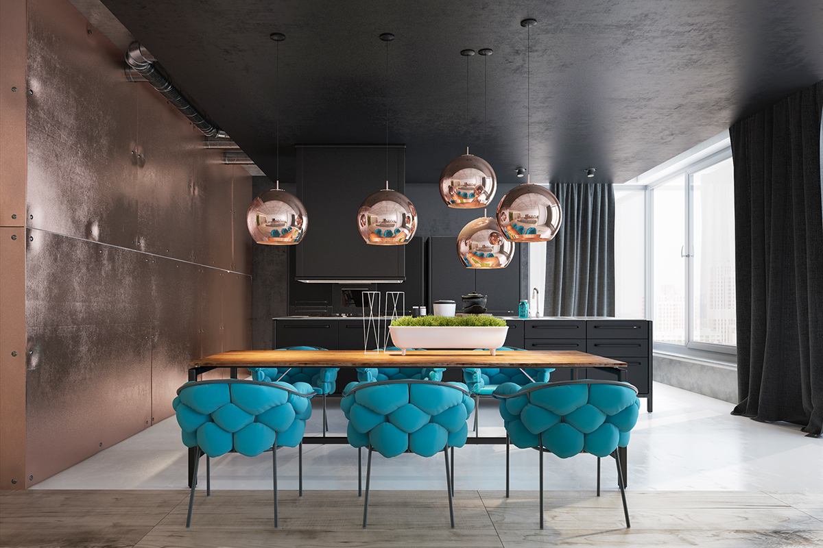 Taking As A Basis The Loft Style, The Designers Brought Gloss Into It With  The Help Of The Right Planning, Designer Furniture, Elements Of Copper And  Metal.