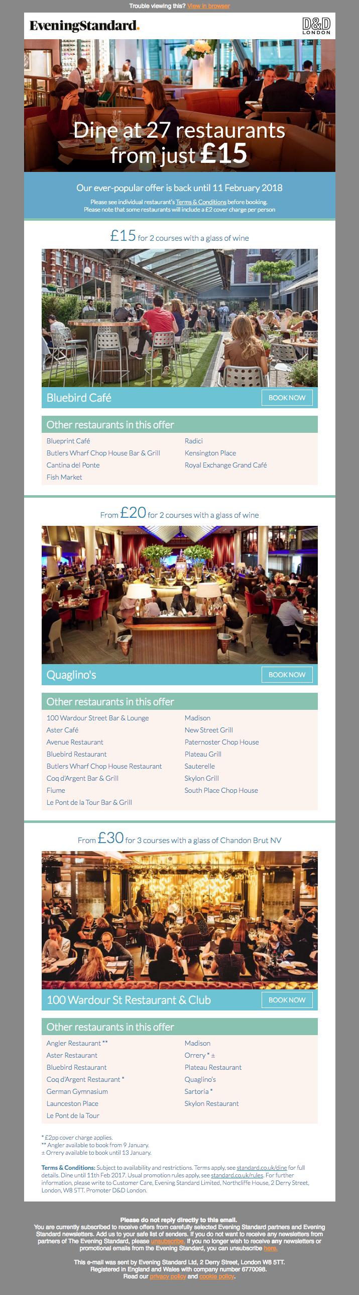 D&D Evening Standard dine offers